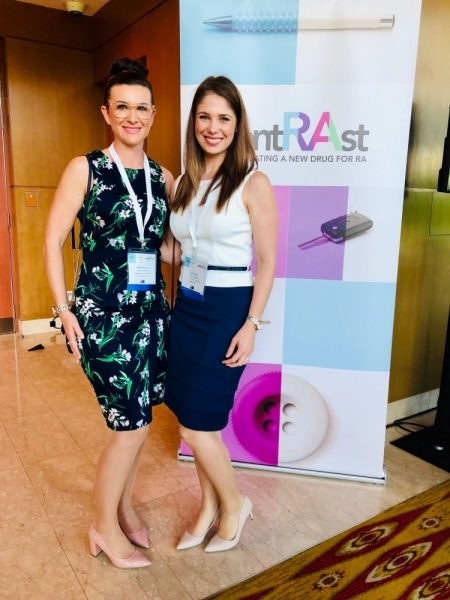 Ashlie and Katie looking sharp at the contRAst investigators meeting